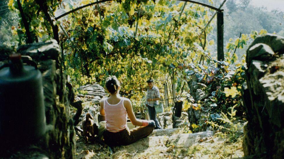 Actividades turísticas para el otoño en la Ribeira Sacra.José Moure, en la viña de A Cova a finales de los setenta, acompañado de su hija Celsa