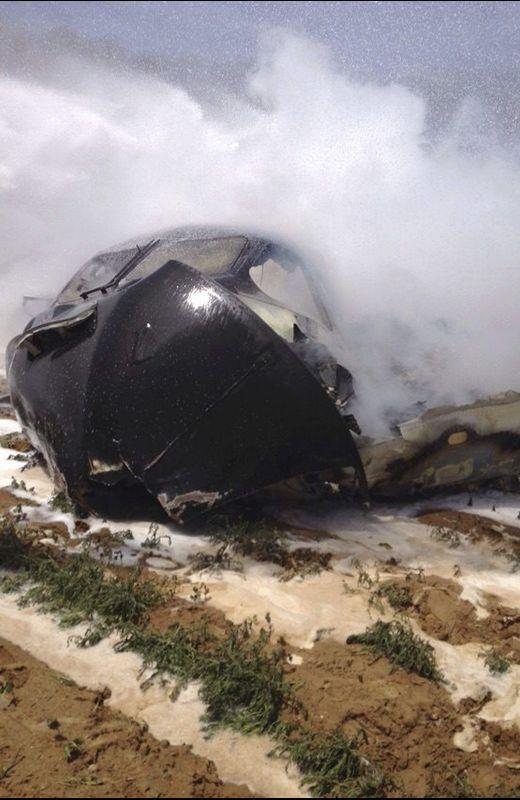 Restos del A400M siniestrado en Andalucía