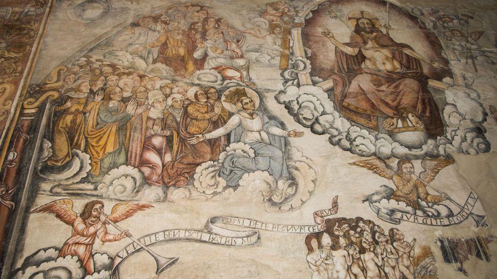 Los frescos del muro norte representan el Juicio Final, que preside la figura del Cristo triunfante