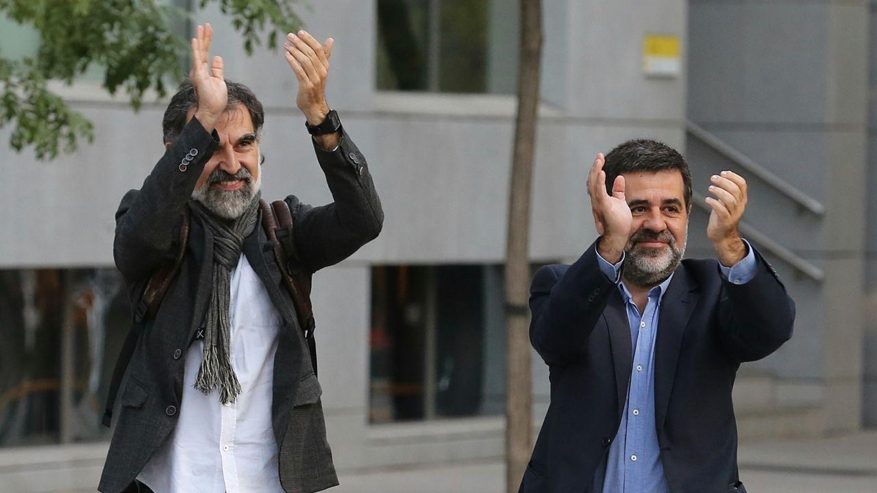 Jordi Sánchez y Jordi Cuixart, en una imagen de archivo ante la Audiencia Nacional