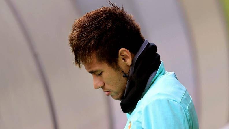 Neymar, en un entrenamiento del Barça