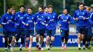 Los jugadores del Oviedo, en El Requexón, en un entrenamiento de la temporada 20/21