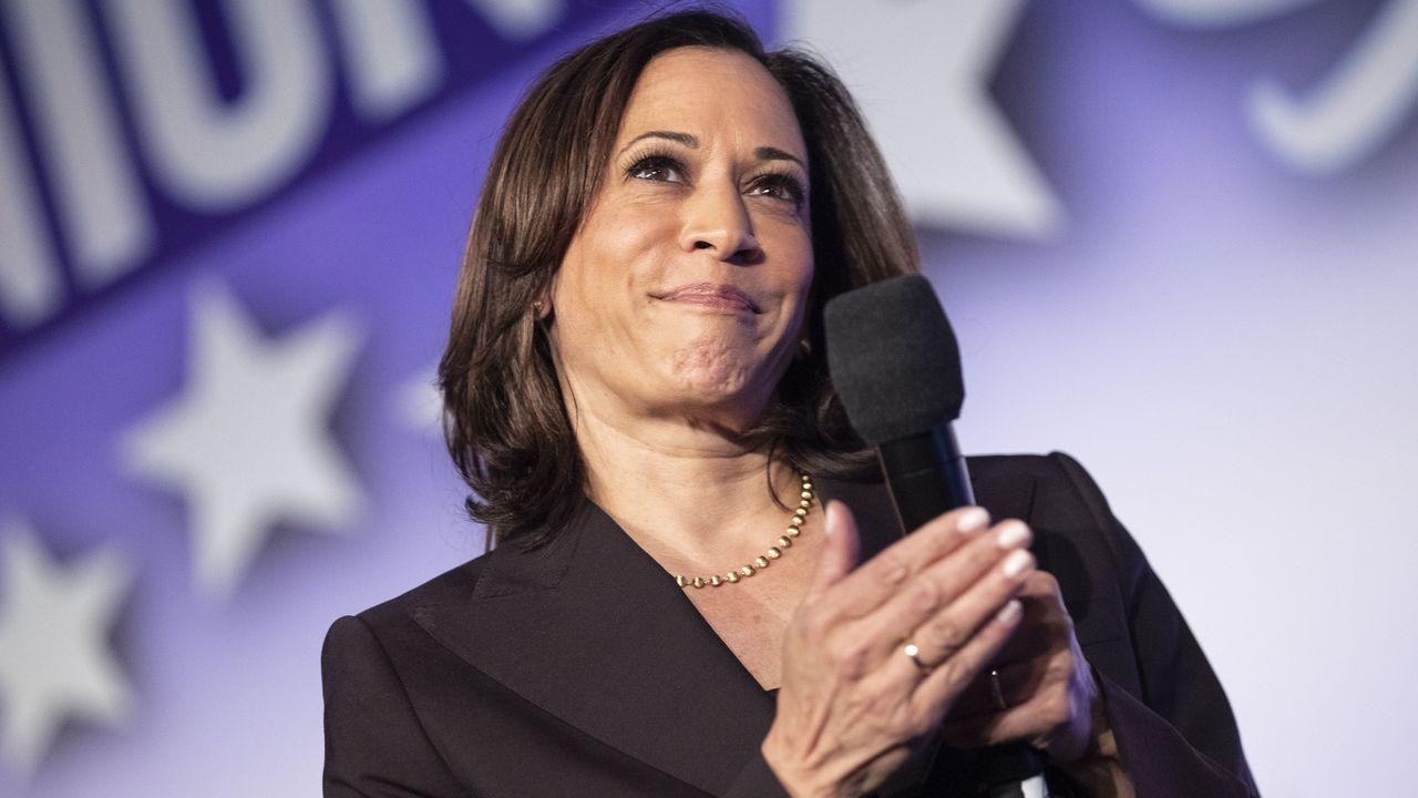 Biden, durante la presentación de Harris como candidata a la vicepresidencia