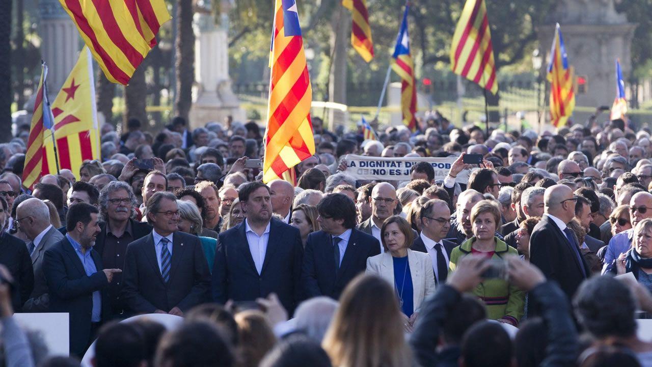 Turbulento aniversario del 1-O.Concentración en Barcelona durante la Diada en la que se reclamó libertad para los políticos presos