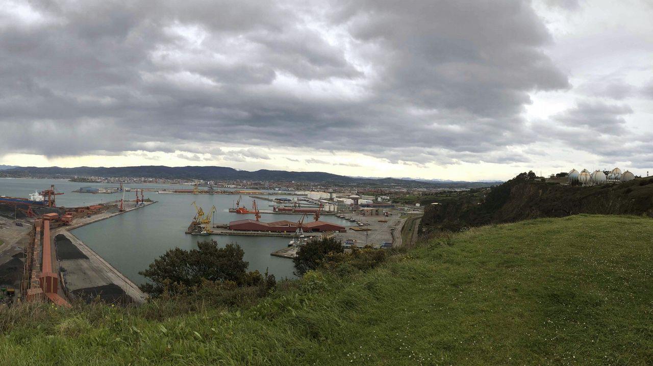 Las imágenes de la protesta contra la contaminación en Gijón.Panorámica tomada desde la Campa de Torres del puerto de El Musel de Gijón