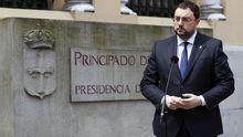 El presidente del Principado, Adrián Barbón, en una comparecencia ante la sede de Presidencia, en Oviedo