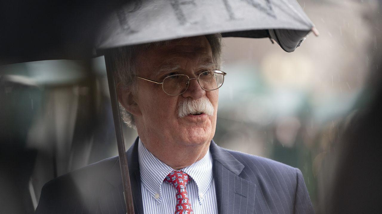 El asesor nacional de seguridad, John R. Bolton, durante su declaración a los medios en la Casa Blanca