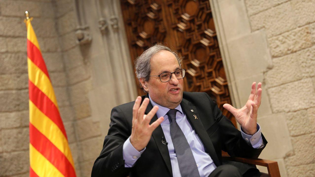 Núñez Feijoo se suma al adelanto electoral y hace coincidir los comicios gallegos con los vascos.Quim Torra, este viernes, en el Palau de la Generalitat