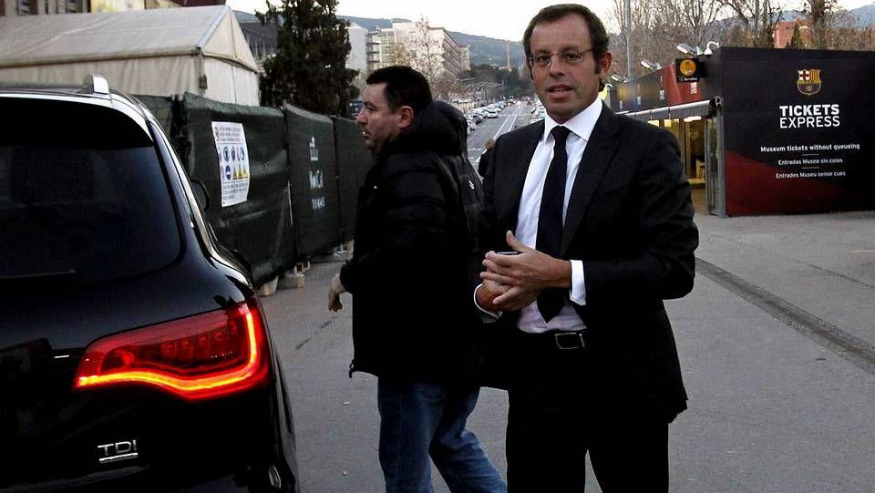 Sandro Rosell a su llegada al Camp Nou