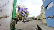Flores en el exterior del colegio en el que estudiaba el menor fallecido, esta mañana