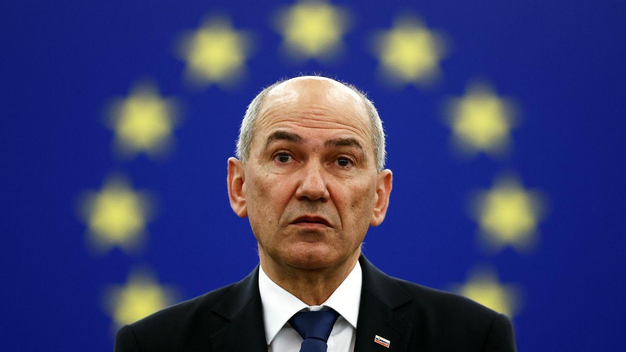 El primer ministro esloveno, Janez Jansa, este martes, durante su intervención ante el Parlamento Europeo