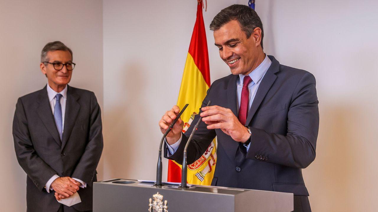 Sánchez durante la inauguración de la oficina económica y comercial de España en EE.UU., en Nueva York