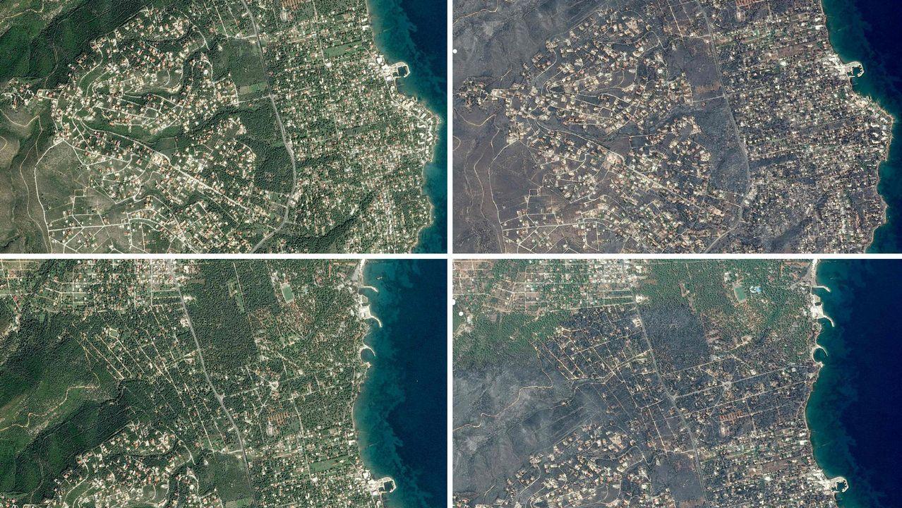Verde antes de los fuegos en Grecia, ceniza tras las llamas