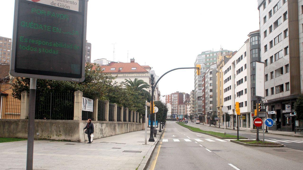 Arden siete vehículos en A Gaiteira.Aspecto de una de las avenidas de Gijón