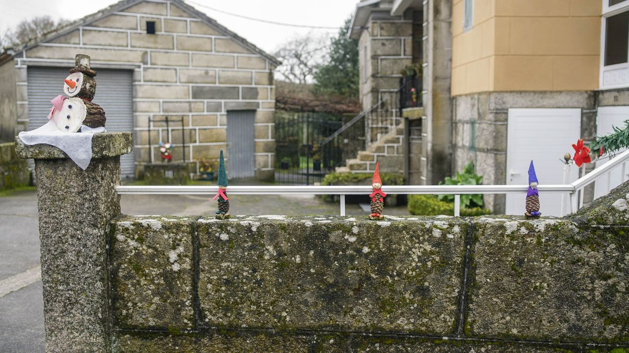 adornos reivindicativos.En Neboeiro decoraron el pueblo con motivos naturales  y reivindican una mejor conexión a Internet