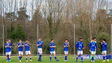 Los jugadores del Vetusta, antes de un encuentro