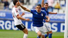 Folch celebra su gol ante el Albacete en el partido del Carlos Tartiere