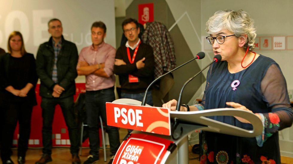 Ana González, tras conocer su victoria en las primarias del PSOE gijonés, interviene en la Casa del Pueblo