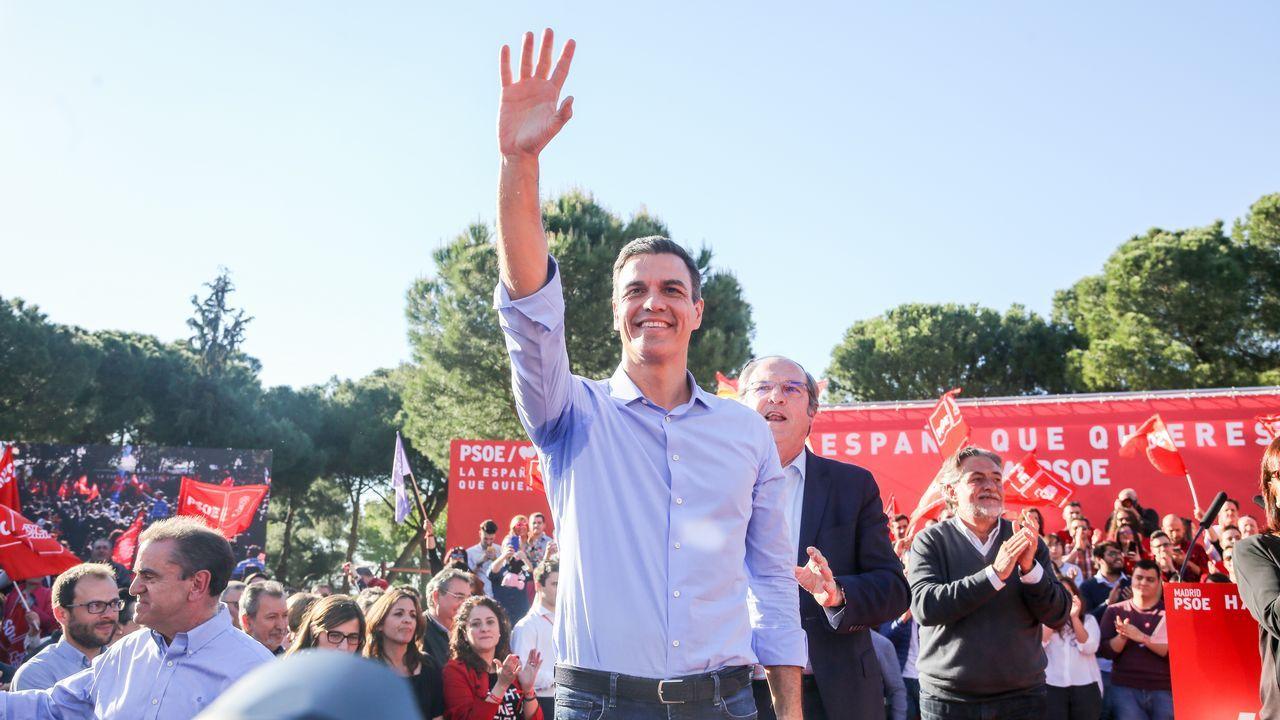 Pedro Sánchez, en un mitin de la campaña electoral en Madrid