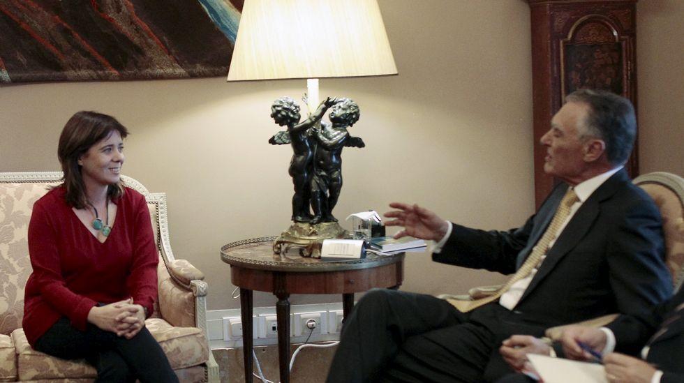 Carolina Martins, líder del Bloque, con Cavaco Silva