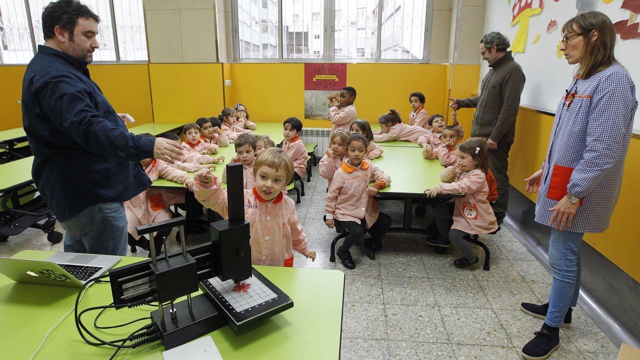 Voznatura en el colegio Mariano.Regadío en A Limia. Las nuevas tecnologías apenas han mejorado el aprovechamiento del agua