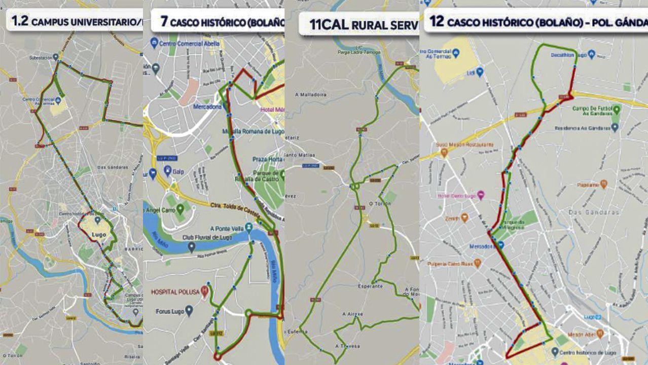 Diferentes líneas del nuevo modelo de bus urbano de Lugo