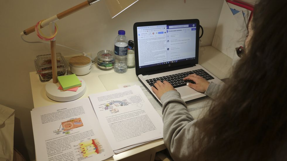 Galicia se echa a la playa.Alumna estudiando desde casa durante esta crisis del coronavirus