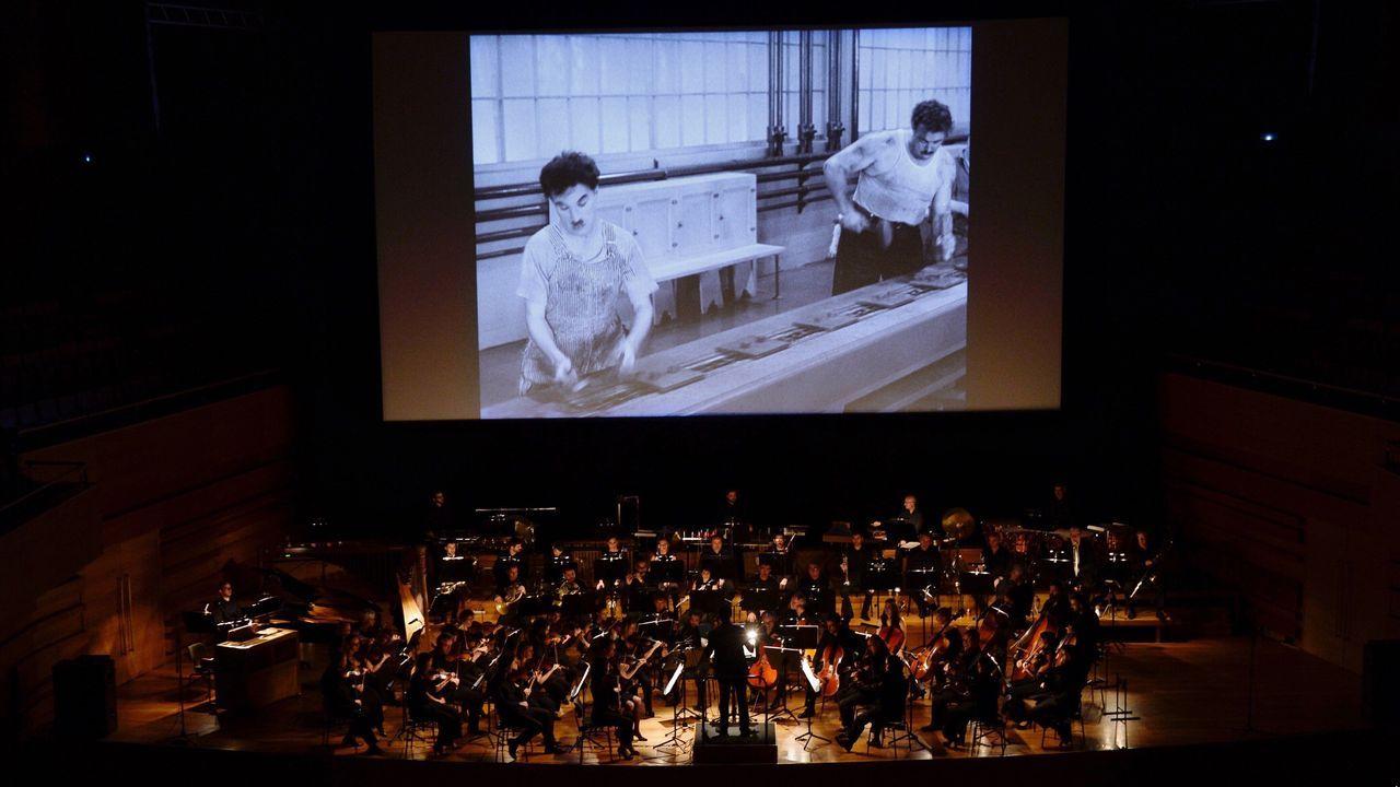 Una de las despedidas de la Seminci fue la proyección de «Tiempos modernos», de Chaplin, con la Orquesta Sinfónica de Castilla y León
