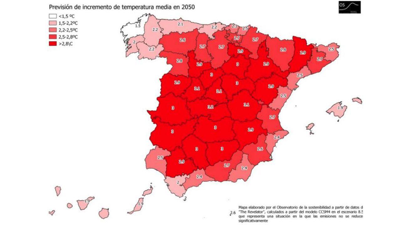 Incremento de las temperaturas en Asturias, para el 2050, según el informe del Observatorio de la Sostenibilidad