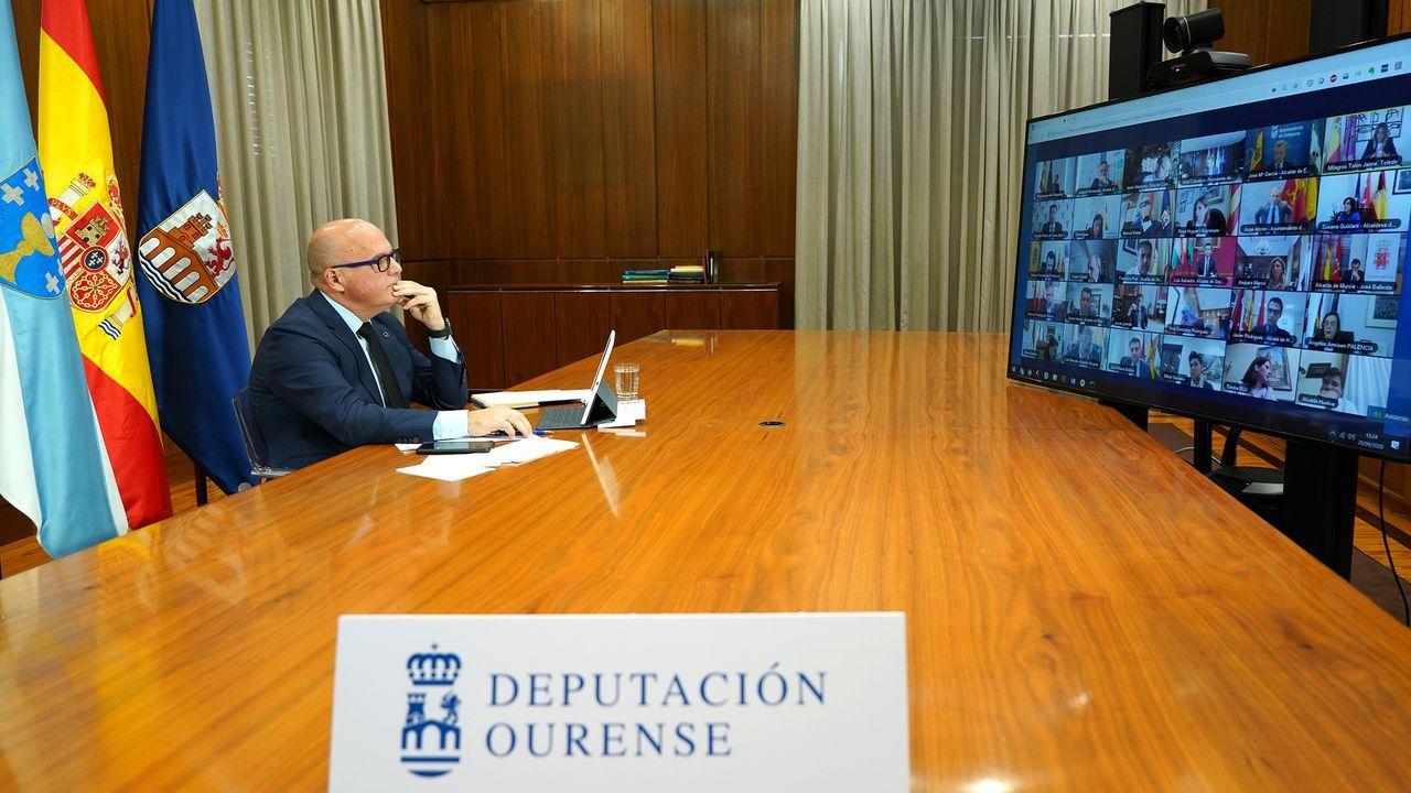 Comparecencia de Núñez Feijoo tras la reunión de Sánchez con los presidentes regionales.Videoconferencia en la que participa Jose Manuel Baltar
