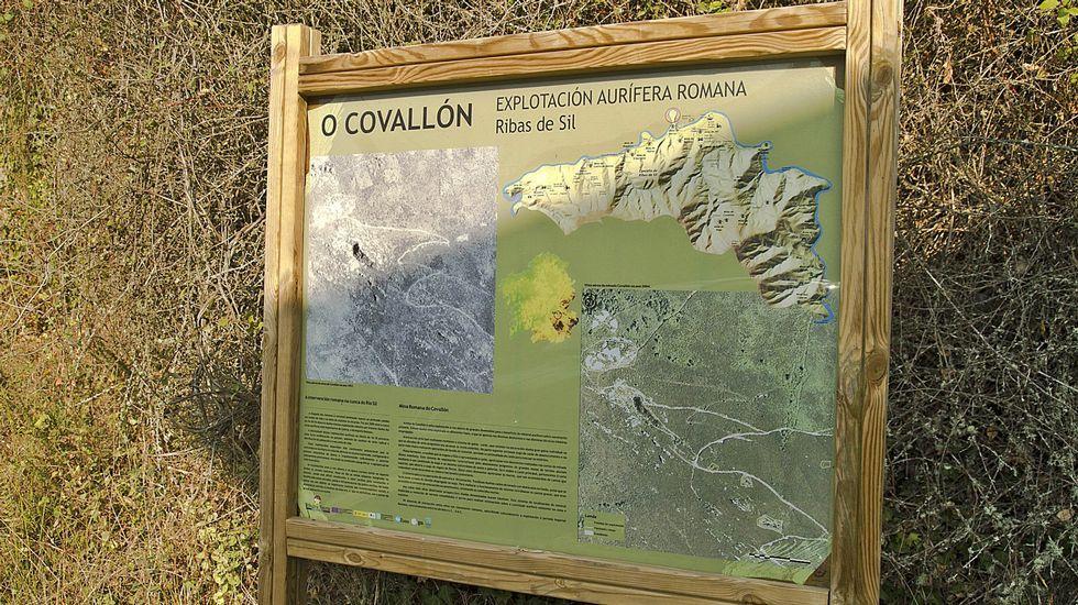 Panel explicativo en la mina aurífera romana de O Covallón, en Ribas de Sil
