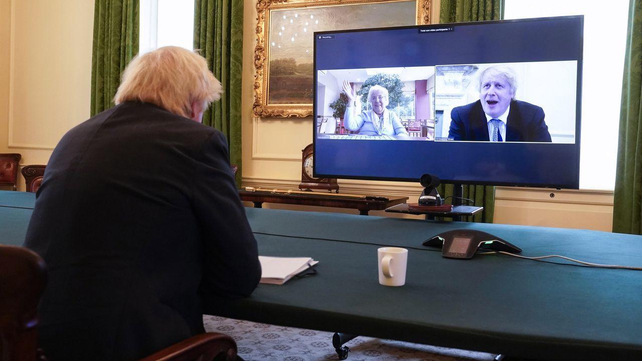 Boris Johnson, en una videoconferencia