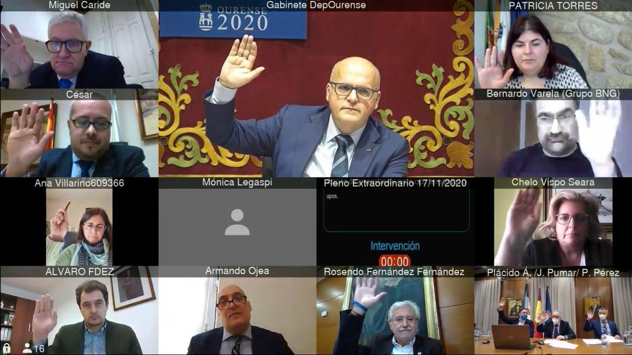 Pleno celebrado por videconferencia en la Diputación ourensana