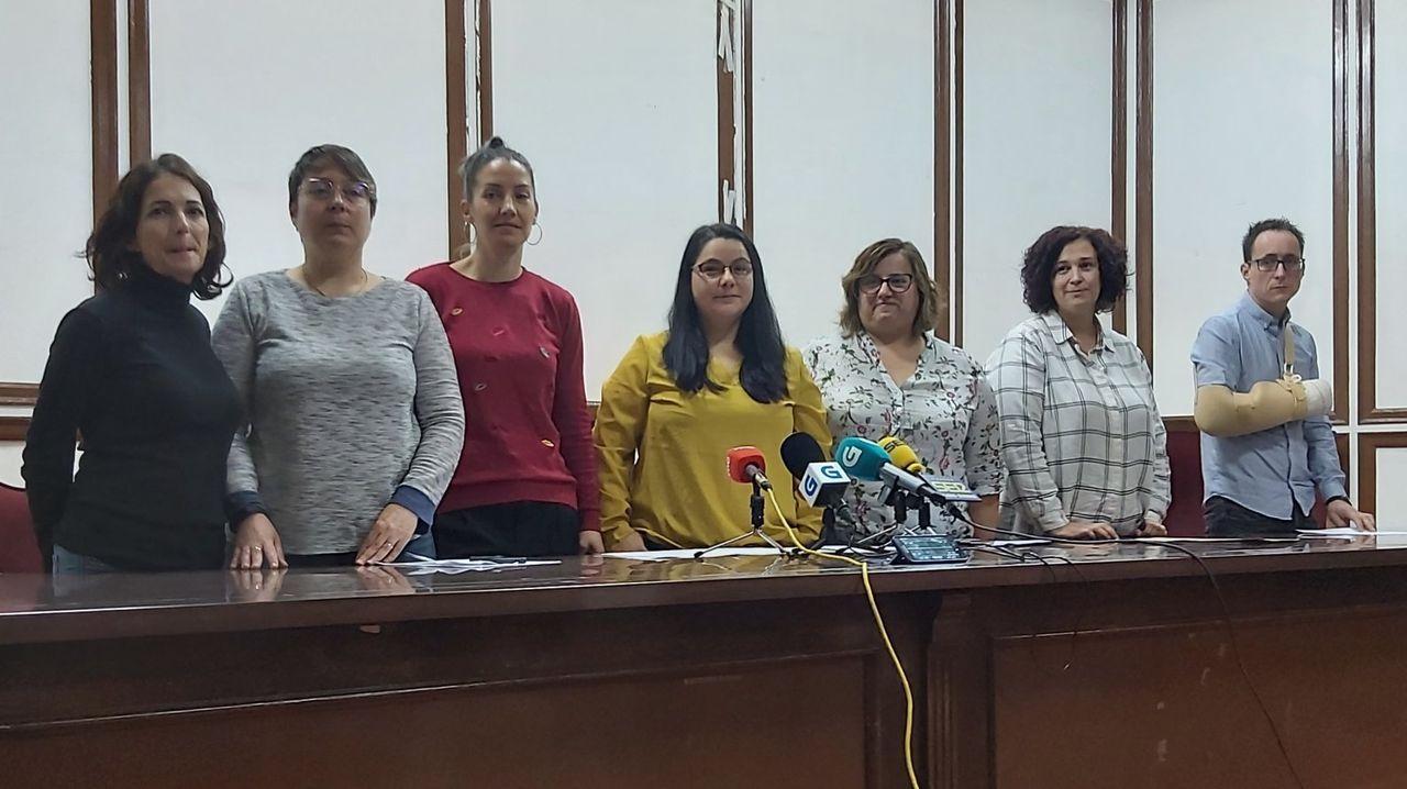 El comité de empresa de Unitono en Ourense durante una comparecencia reciente para denunciar el futuro incierto de la plantilla