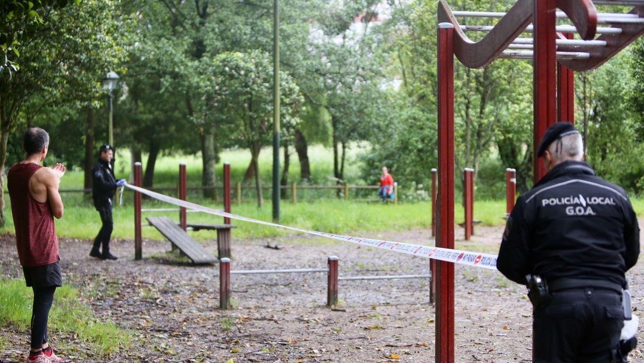Paseo de las Avenidas en Vigo.En el parque de Castrelos en Vigo la Policía LOcal clausuró un parque biosaludable esta mañana.