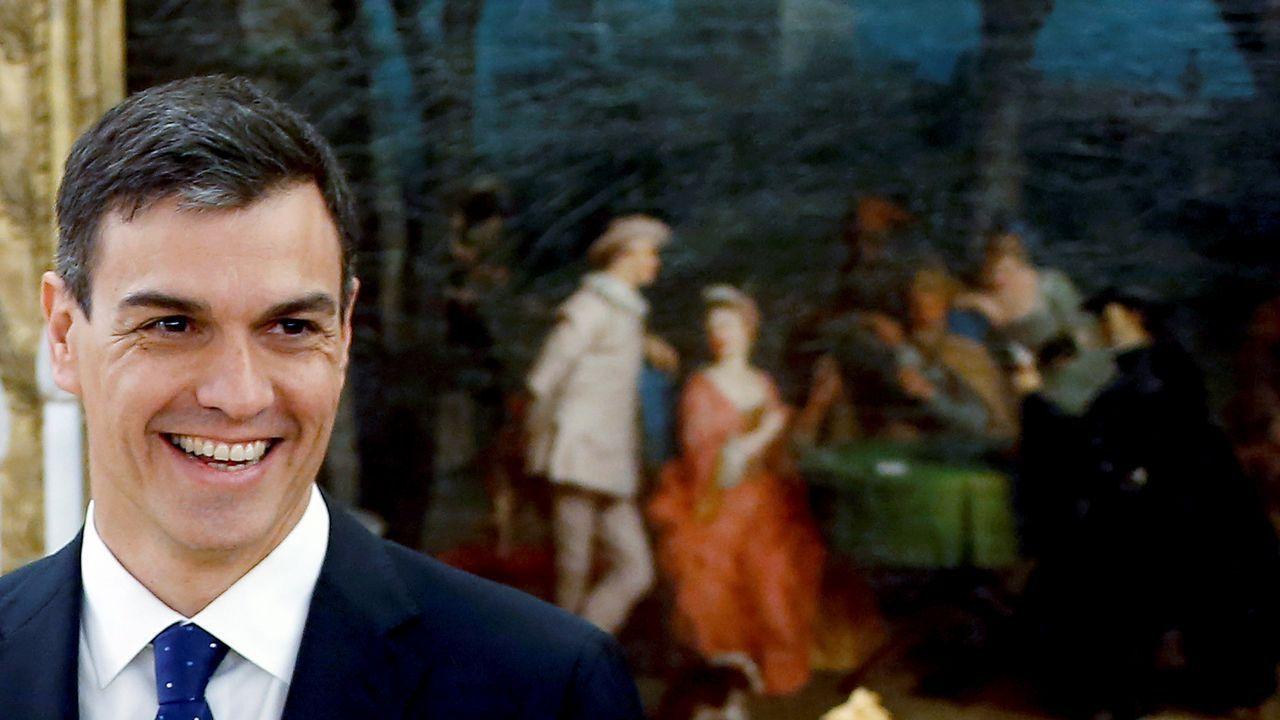 El presidente del Gobierno, Pedro Sánchez, durante la toma de posesión de sus ministros