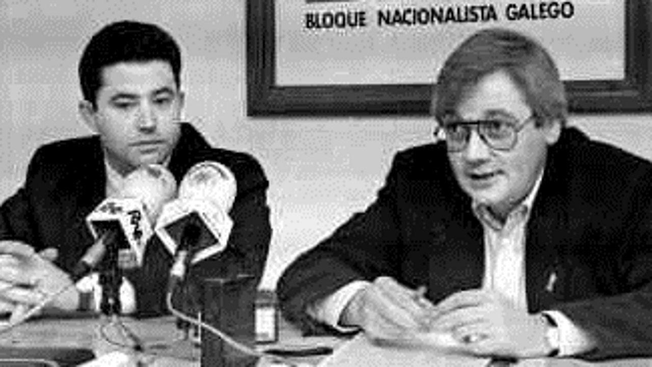 Guillerme Vázquez xunto a Fernández Lores durante a súa etapa como concelleiro en Pontevedra