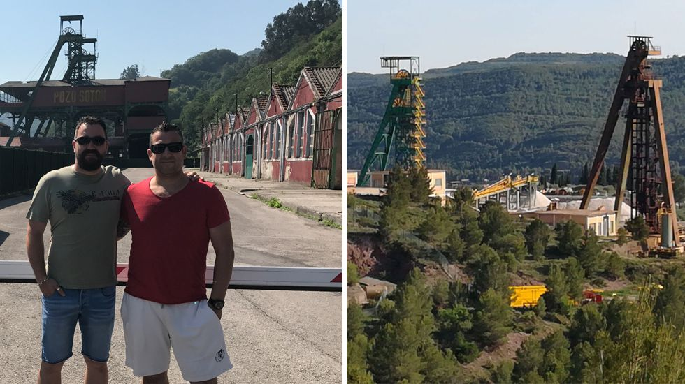 Pánico en Barcelona por el atropellomasivo en Las Ramblas.A la izquierda, Diego Zúñiga y Ricardo Guillén en la visita al pozo Sotón. En la imagen de la derecha, los castilletes del pozo Cabanasas en el que trabajan ambos