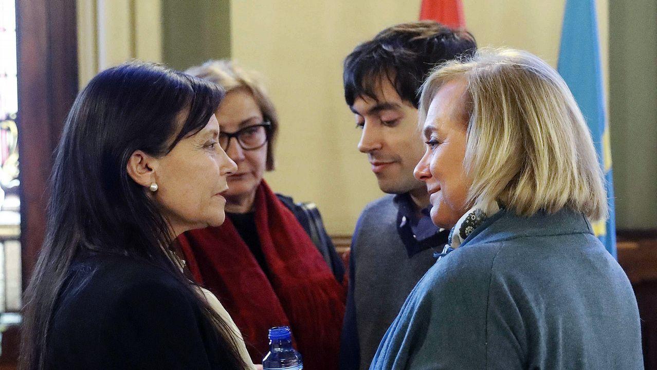 a presidenta del PP de Asturias, Mercedes Fernández (d), y la viuda del exjefe del Ejecutivo asturiano, Vicente Álvarez Areces, fallecido la pasada madrugada, Soledad Saavedra (i), en la capilla ardiente instalada hoy en la Junta General del Principado