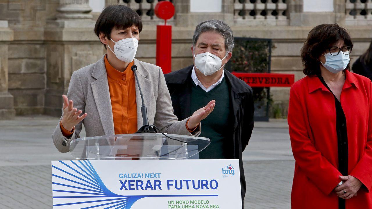 La comarca ferrolana, en huelga.Ana Pontón y Miguel Anxo Fernández Lores, durante el acto de este jueves en Pontevedra