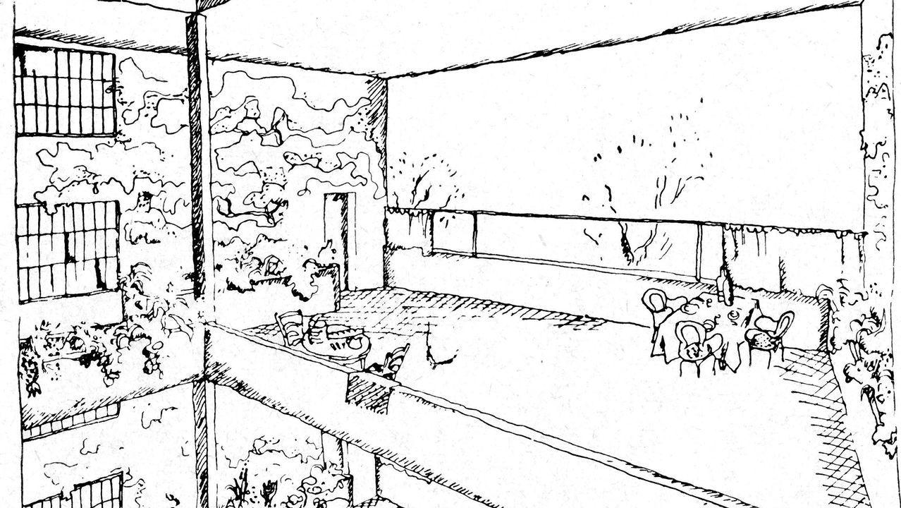 Proposta de intervención no Campo de Conxo.Dibujo de la terraza de una Inmueble-Villa, del arquitecto suizo Le Corbusier en 1922