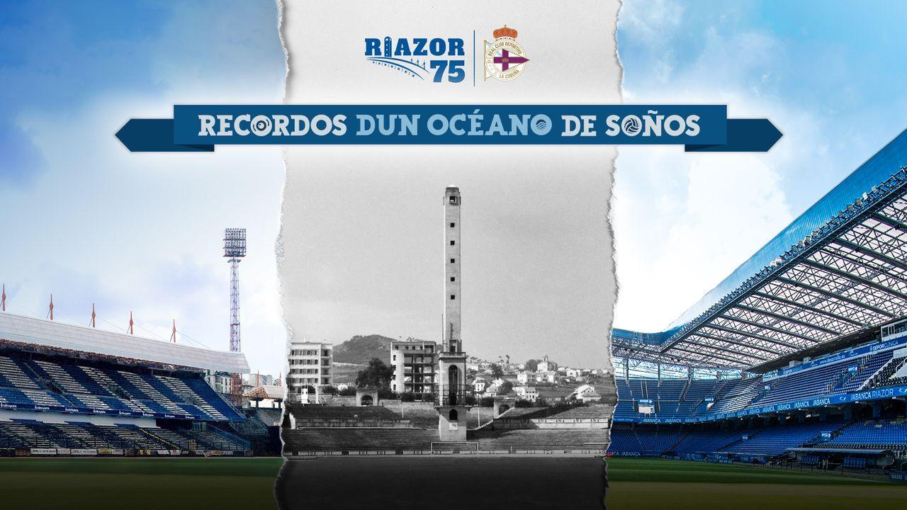 Cartel de la exposición sobre los 75 años del estadio de Riazor
