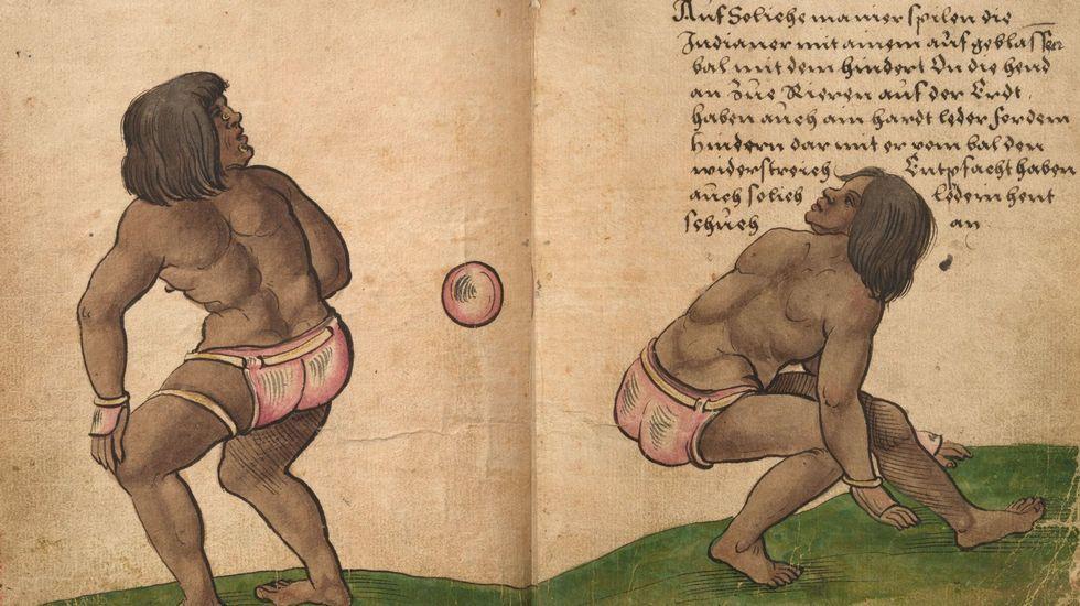 Lopetegui.Jugadores aztecas practicando el «ullamaliztli». La ilustración es de Christoph Weiditz y corresponde a dos páginas del «Trachtenbuch», o «Libro de tradiciones» (c. 1530), que conserva el Germanisches Nationalmuseum de Núremberg. Poco después de la conquista de Tenochtitlan, Cortés envió a España a varios de esos jugadores de pelota, que realizaron una exhibición ante Carlos I en Toledo en 1528. Weiditz dejó testimonio de ello