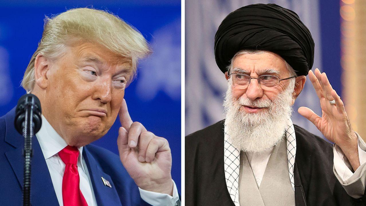 El presidente de Estados Unidos, Donald Trump, y, a la derecha, el líder supremo de Iran, Alí Jamenei