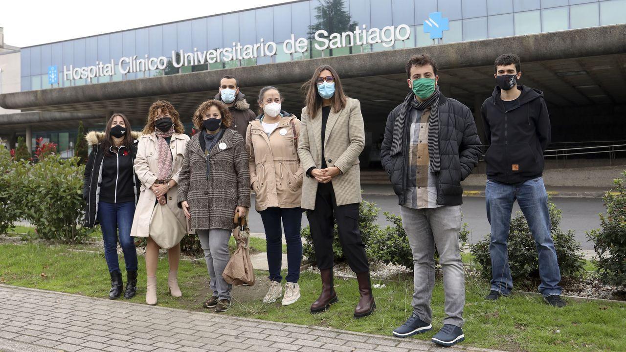 Beatriz Cebreiro, Lorena Casal e Carmen Fernández, na Facultade de Ciencias da Educación