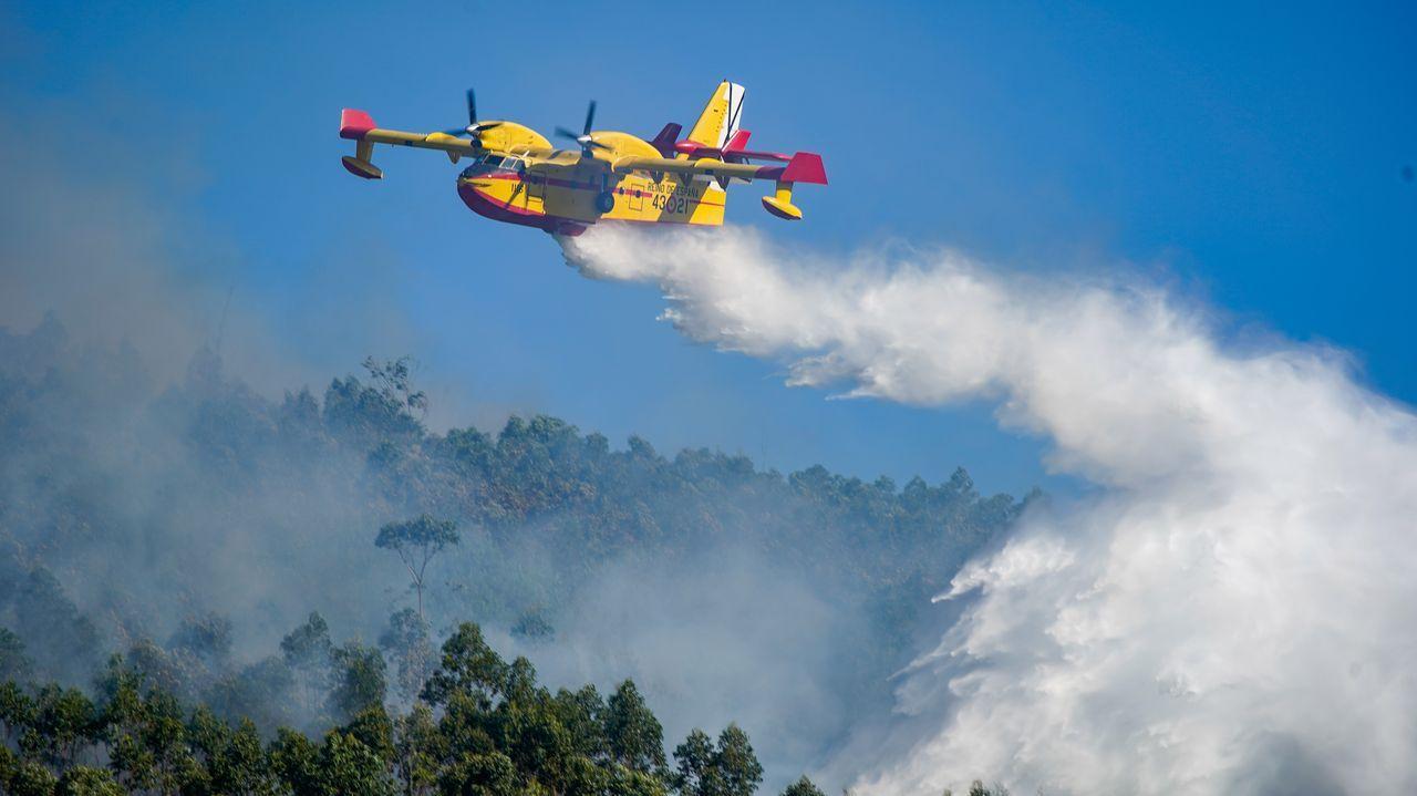 Medios aéreos y terrestres sofocando dos incendios en A Pobra.María del Carmen Trillo y Javier Hurtado Márquez, padres de Javier, continúan la búsqueda