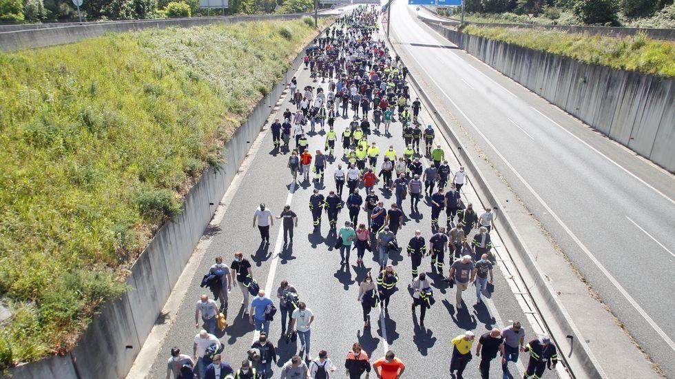 Manifestación de los trabajadores de Navantia y Endesa.Central de carbón y de gas de Endesa en As Pontes