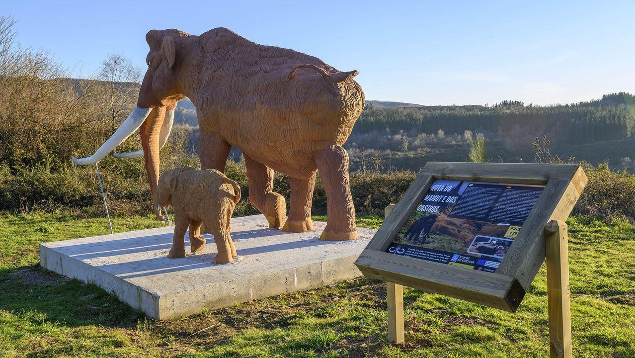 Un conjunto escultórico que representa en tamaño natural un mamut adulto y una cría es uno de los puntos destacados de la nueva ruta de senderismo