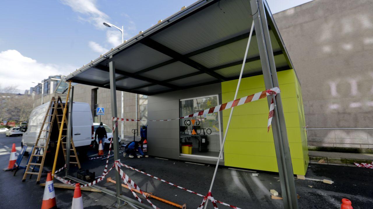 Obras de reparación del autocovid del Ventorrillo tras el choque de un bus urbano