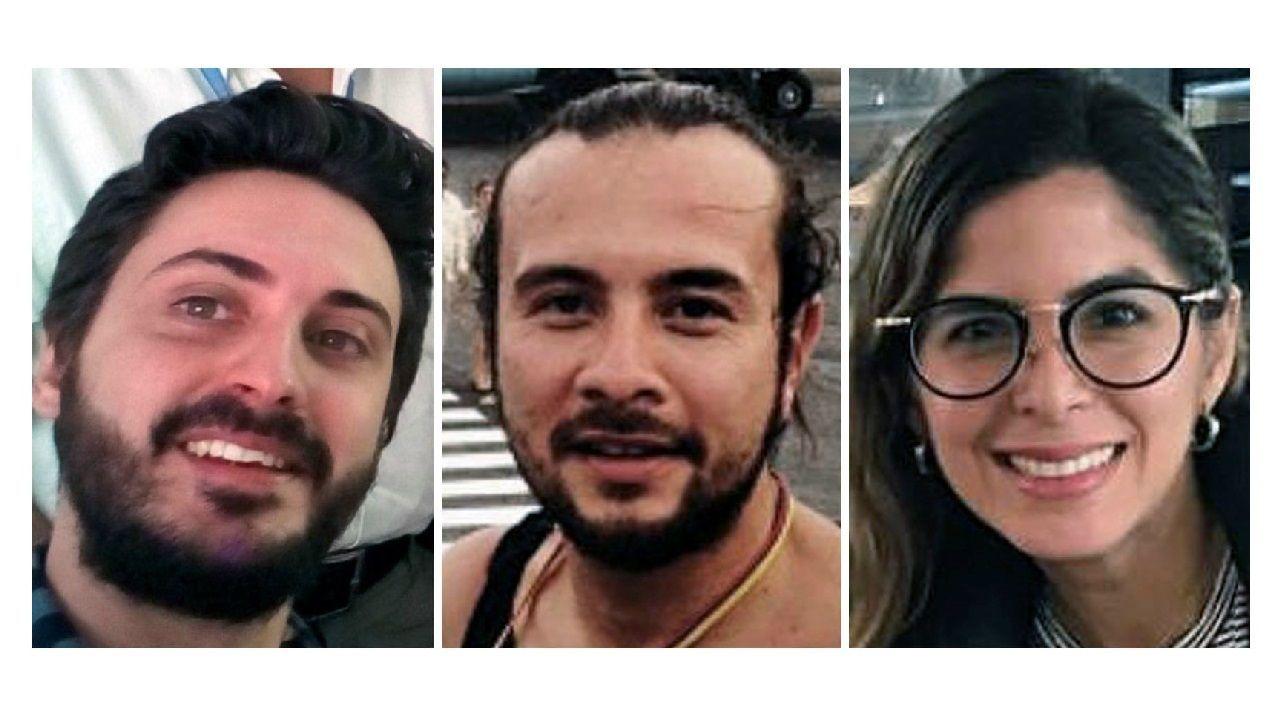 El español Gonzalo Domínguez (izquierda) y los colombianos Leonardo Muñoz y Mauren Barriga son los periodistas de la agencia Efe detenidos en Venezuela